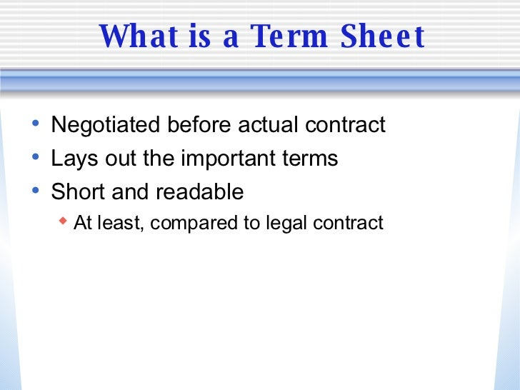 what s in the term sheet