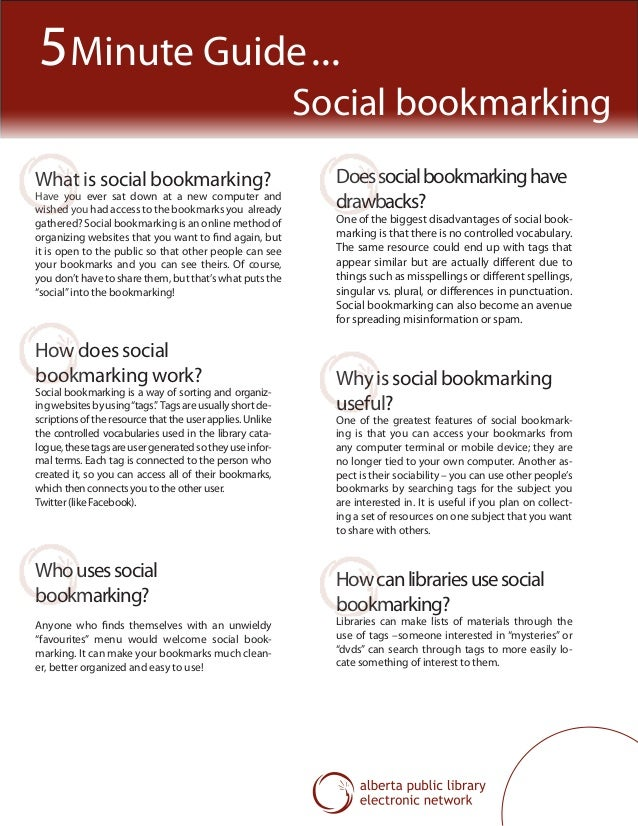 What is social bookmarking? Have you ever sat down at a new computer and wished you had access to the bookmarks you alread...