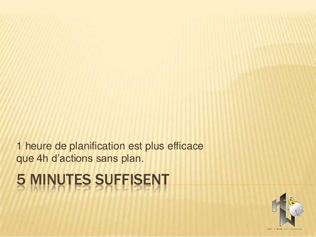 1 heure de planification est plus efficaceque 4h d'actions sans plan.5 MINUTES SUFFISENT