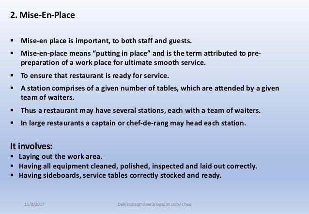 Fb service 5 mise en place closing restaurant - Mise en place table restaurant ...