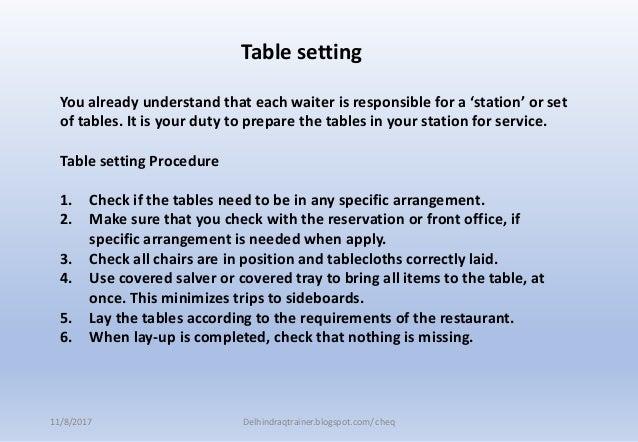 FB Service Mise En Place Closing Restaurant - Training table restaurant closing