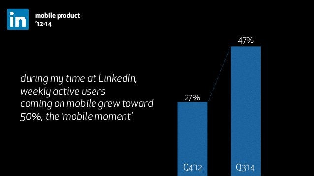 27%  47%  Q4'12 Q3'14  mobile product  '12-14  during my time at LinkedIn,  weekly active users  coming on mobile grew tow...
