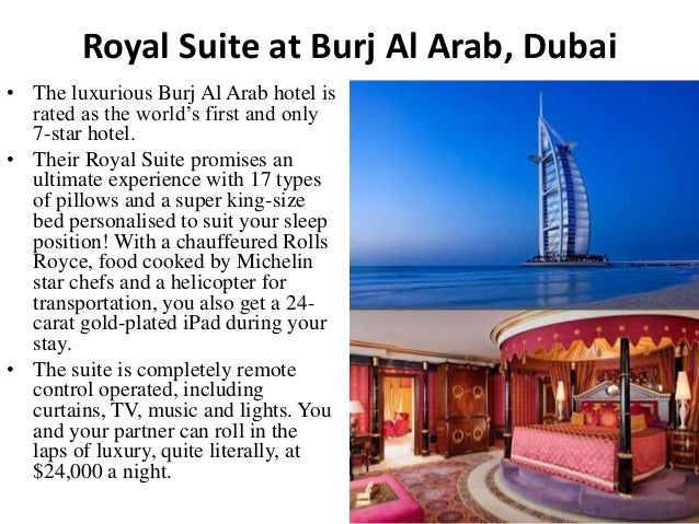 5 most expensive honeymoon suites around the world for Burj al arab per night