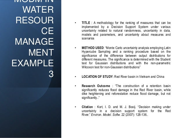 MODM IN WATER RESOUR CE MANAGE MENT EXAMPLE 3 • TITLE : A methodology for the ranking of measures that can be implemented ...