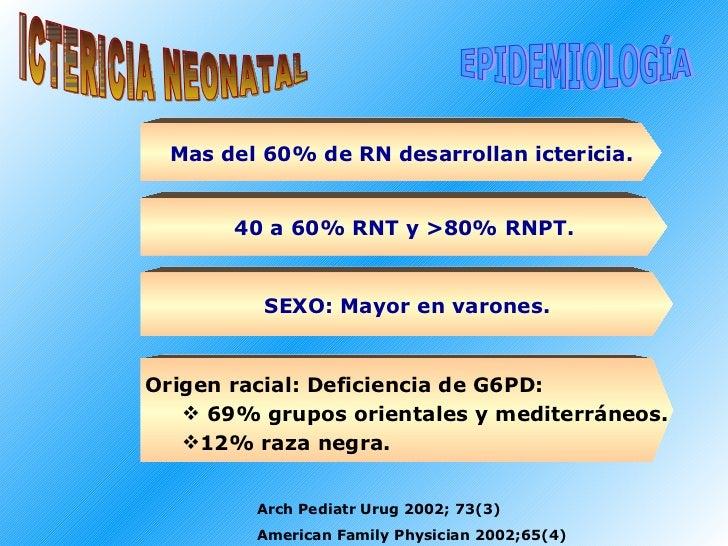 Arch Pediatr Urug 2002; 73(3) American Family Physician 2002;65(4) ICTERICIA NEONATAL EPIDEMIOLOGÍA Mas del 60% de RN desa...