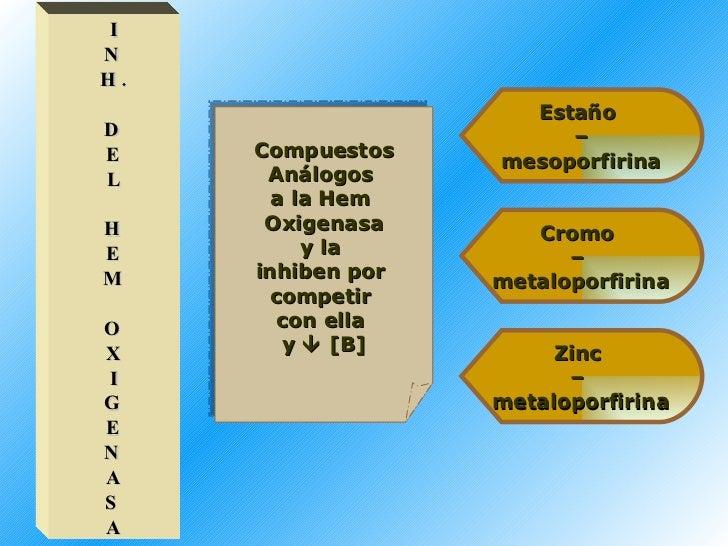 I N H. D E L H E M O X I G E N A S A Compuestos Análogos  a la Hem  Oxigenasa y la  inhiben por  competir  con ella  y   ...