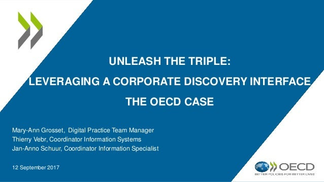 UNLEASH THE TRIPLE: LEVERAGING A CORPORATE DISCOVERY INTERFACE THE OECD CASE Mary-Ann Grosset, Digital Practice Team Manag...