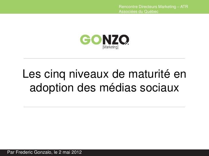 Rencontre Directeurs Marketing – ATR                                      Associées du Québec       Les cinq niveaux de ma...