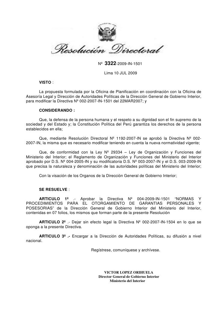 Nº   3322-2009-IN-1501                                             Lima 10 JUL 2009       VISTO :      La propuesta formul...
