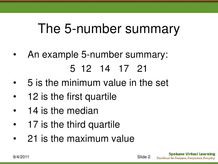 the 5 number summary an example 5 number summary 5