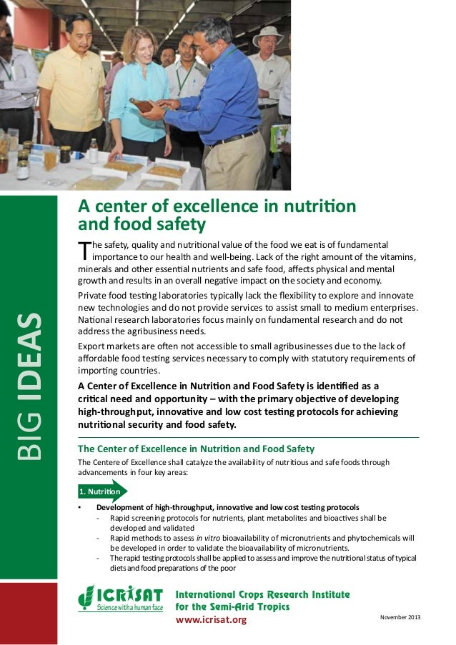 A center of excellence in nutrition and food safety  T  BIG IDEAS  he safety, quality and nutritional value of the food we...