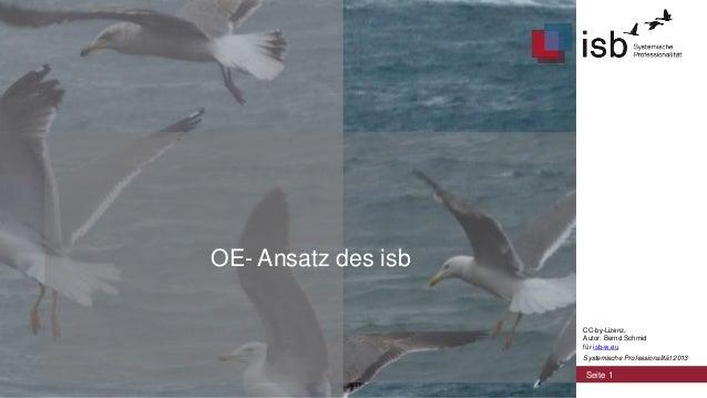 OE- Ansatz des isb CC-by-Lizenz, Autor: Bernd Schmid für isb-w.eu Systemische Professionalität 2013  Seite 1