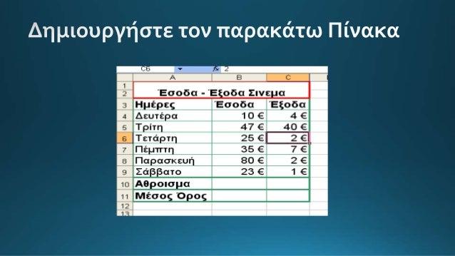 5o ergastirio excel intro synartiseis