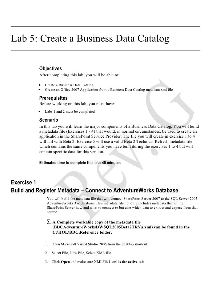 Lab 5: Create a Business Data Catalog            Objectives           After completing this lab, you will be able to:     ...