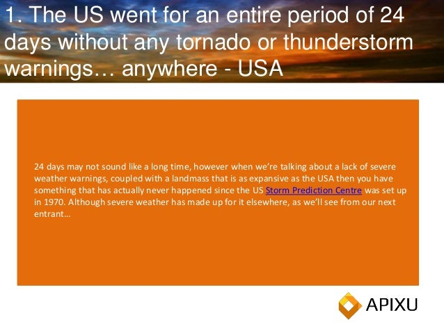 1. The US went for an entire period of 24 days without any tornado or thunderstorm warnings… anywhere - USA 24 days may no...