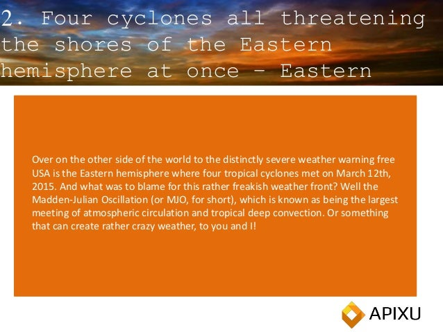 2. Four cyclones all threatening the shores of the Eastern hemisphere at once – Eastern hemisphere Over on the other side ...