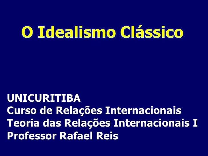 UNICURITIBA Curso de Relações Internacionais Teoria das Relações Internacionais I Professor Rafael Reis