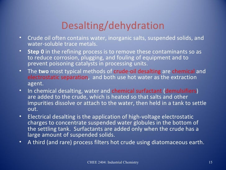 desalting dehydration crude oil often contains water inorganic salts ...