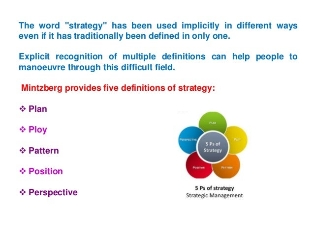 Mintzberg's 5 Ps of Strategy