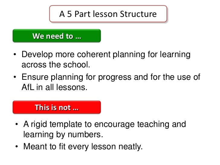 A 5 Part lesson Structure<br />We need to …<br />Develop more coherent planning for learning across the school.<br />Ensur...