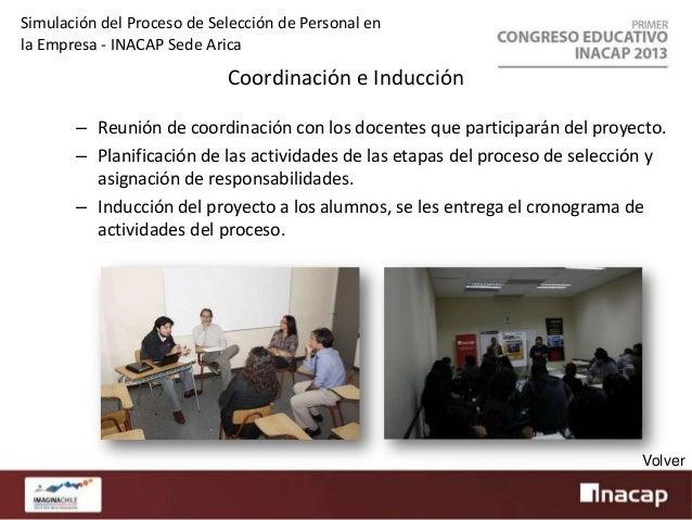 Simulación del Proceso de Selección de Personal en la Empresa - INACAP Sede Arica  Publicación Oferta Laboral – – – –  Con...