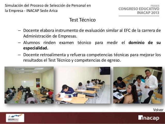 Simulación del Proceso de Selección de Personal en la Empresa - INACAP Sede Arica  Test Psicológico – Profesional externo ...
