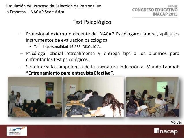 Simulación del Proceso de Selección de Personal en la Empresa - INACAP Sede Arica  Test Psicológico Grupal – En esta etapa...