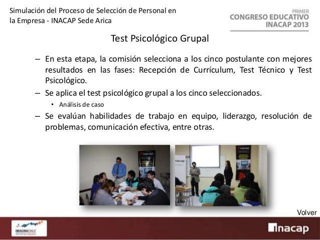 Simulación del Proceso de Selección de Personal en la Empresa - INACAP Sede Arica  Entrevista Psicológica Individual – En ...