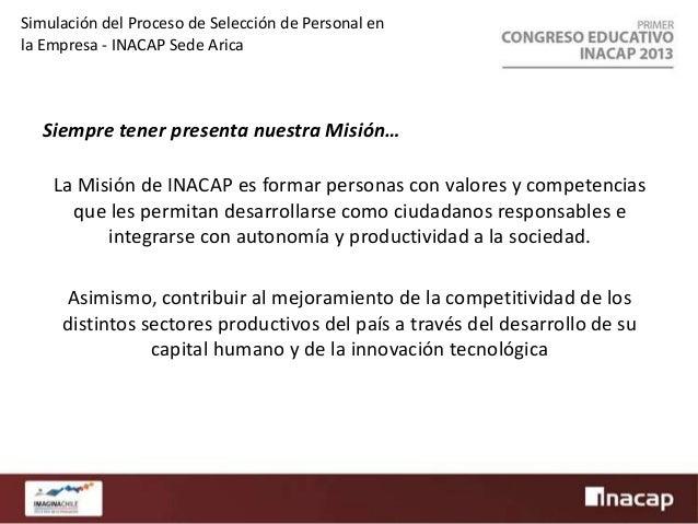 Simulación del Proceso de Selección de Personal en la Empresa - INACAP Sede Arica  Fundamentos del Proyecto (Técnicos)  • ...