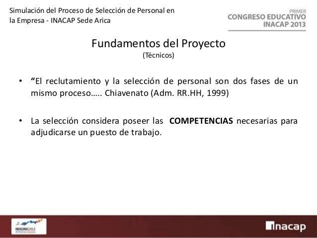 Simulación del Proceso de Selección de Personal en la Empresa - INACAP Sede Arica  Fundamentos del Proyecto (Pedagógicos) ...