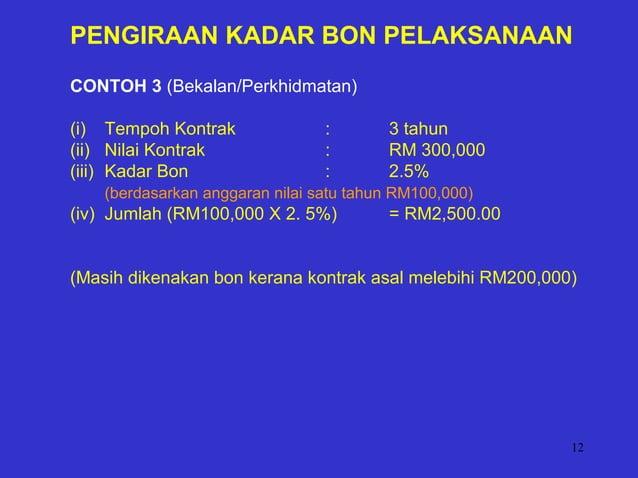 12 PENGIRAAN KADAR BON PELAKSANAAN CONTOH 3 (Bekalan/Perkhidmatan) (i) Tempoh Kontrak : 3 tahun (ii) Nilai Kontrak : RM 30...