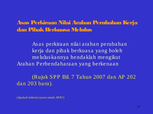 35 Asas Perkiraan Nilai Arahan Perubahan Kerja dan PihakBerkuasa Melulus Asas perkiraan nilai arahan perubahan kerja dan p...
