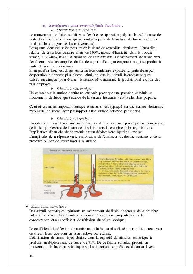 14 a) Stimulation et mouvement de fluide dentinaire :  Stimulation par Jet d'air : Le mouvement de fluide se fait vers l'...