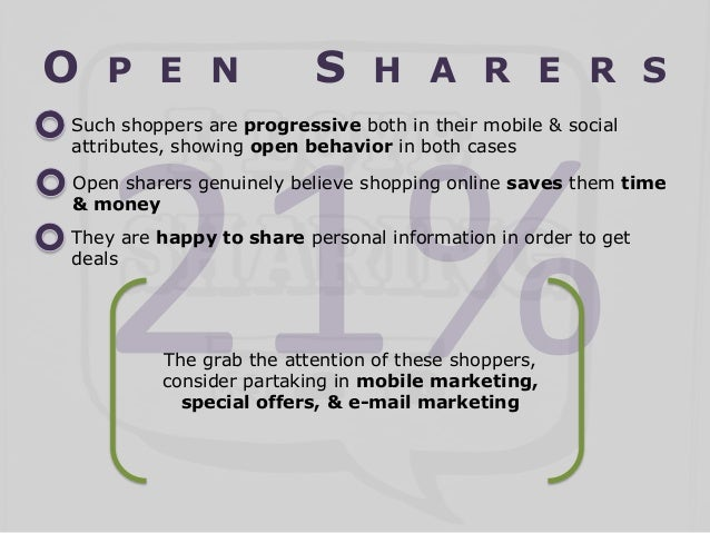 O  P E N  S  H A R E R S  Such shoppers are progressive both in their mobile & social attributes, showing open behavior in...