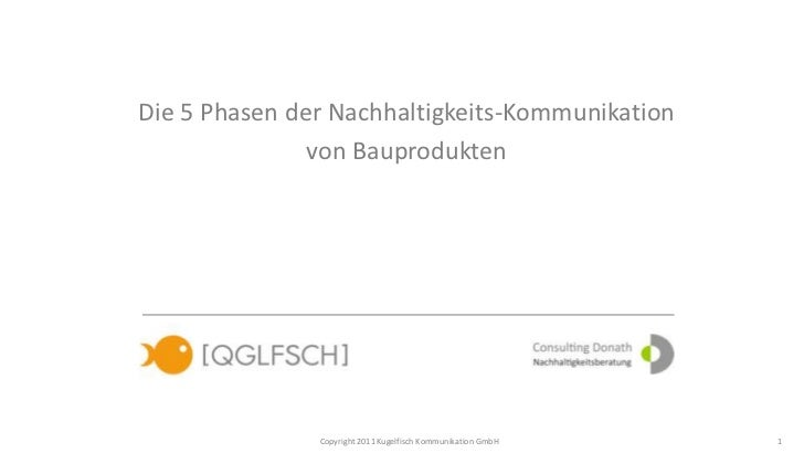 Die 5 Phasen der Nachhaltigkeits-Kommunikation               von Bauprodukten               Copyright 2011 Kugelfisch Komm...
