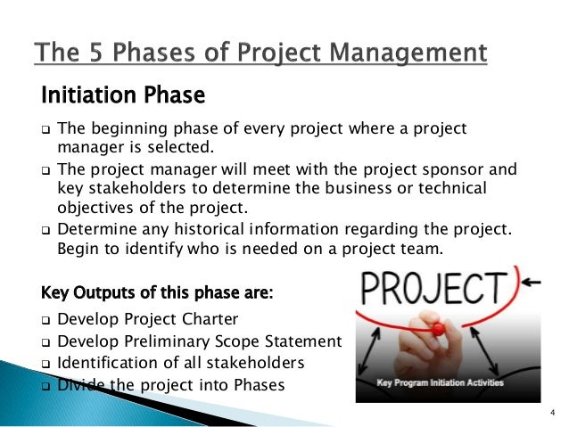 Planning Phase  One of the largest and most important phases of every project. The project manager will determine the tea...