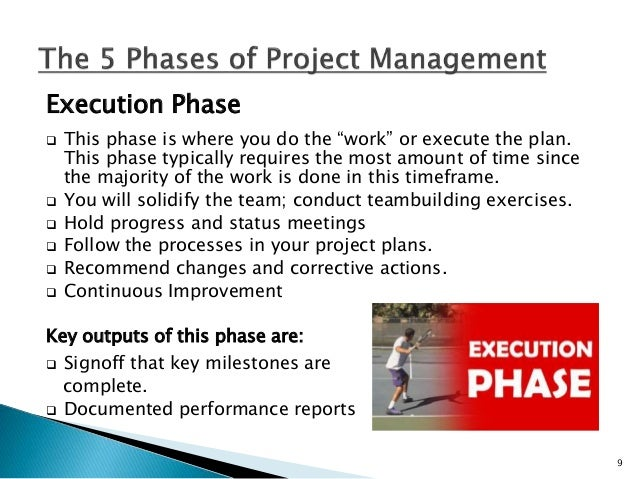 Monitor and Controlling Phase  The phase where results derived from your new process or product are compared to the metri...