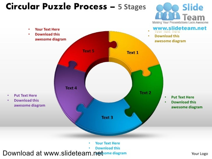 Circular Puzzle Process 5 Stages O Your Text Here