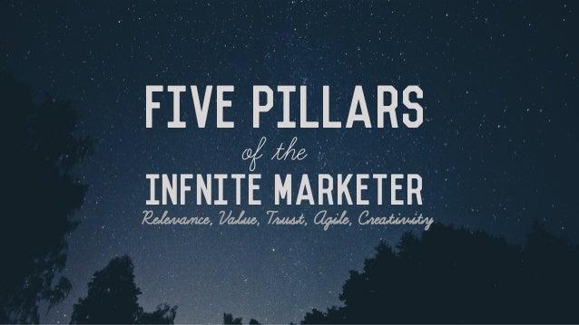 Infnite Marketer Five Pillars of the Relevance, Value, Trust, Agile, Creativity