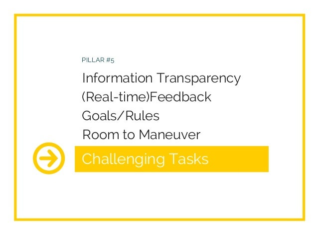 Challenging Tasks PILLAR #5 Information Transparency (Real-time)Feedback Goals/Rules Room to Maneuver