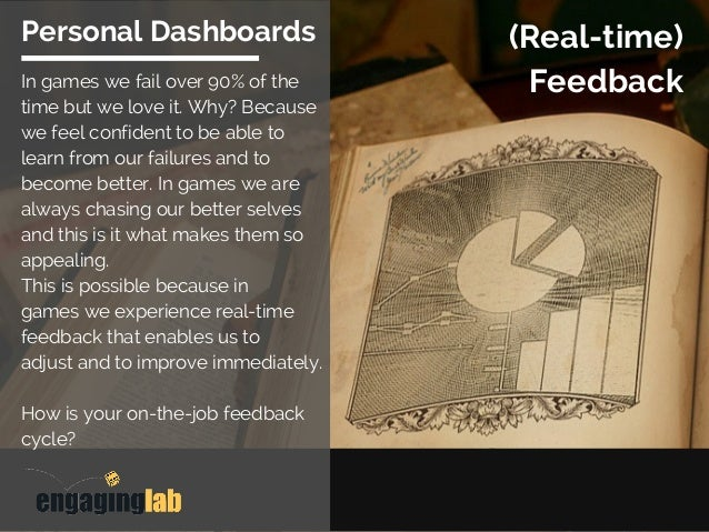 (Real-time) Feedback Personal Dashboards In games we fail over 90% of the time but we love it. Why? Because we feel confid...
