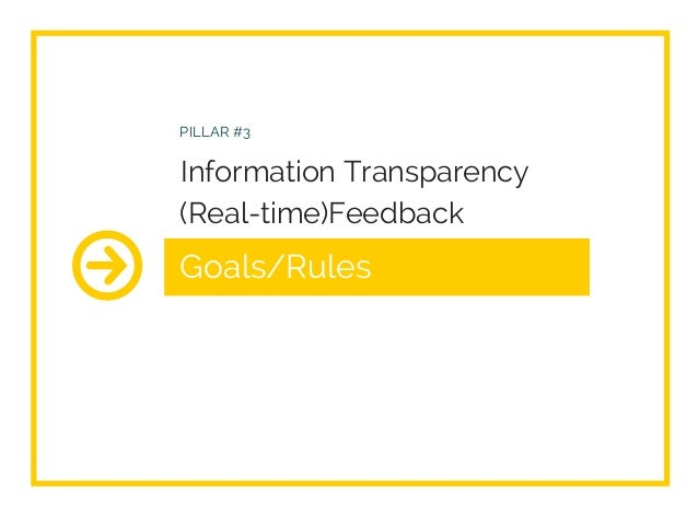 Goals/Rules PILLAR #3 Information Transparency (Real-time)Feedback