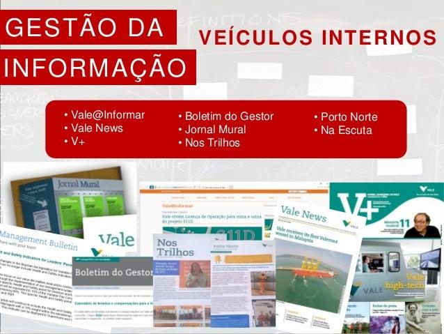 VEÍCULOS INTERNOS • Vale@Informar • Vale News • V+ • Boletim do Gestor • Jornal Mural • Nos Trilhos • Porto Norte • Na Esc...