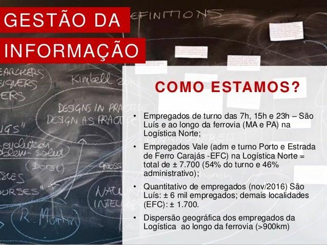 GESTÃO DA INFORMAÇÃO COMO ESTAMOS? • Empregados de turno das 7h, 15h e 23h – São Luís e ao longo da ferrovia (MA e PA) na ...