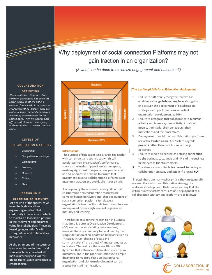The top five pitfalls for collaboration deploymentWhere individuals & groups sharecommon global goals and value the       ...