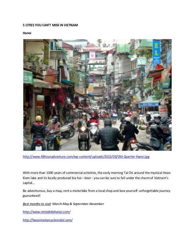 5 CITIES YOU CAN'T MISS IN VIETNAM Hanoi http://www.48houradventure.com/wp-content/uploads/2013/03/Old-Quarter-Hanoi.jpg W...