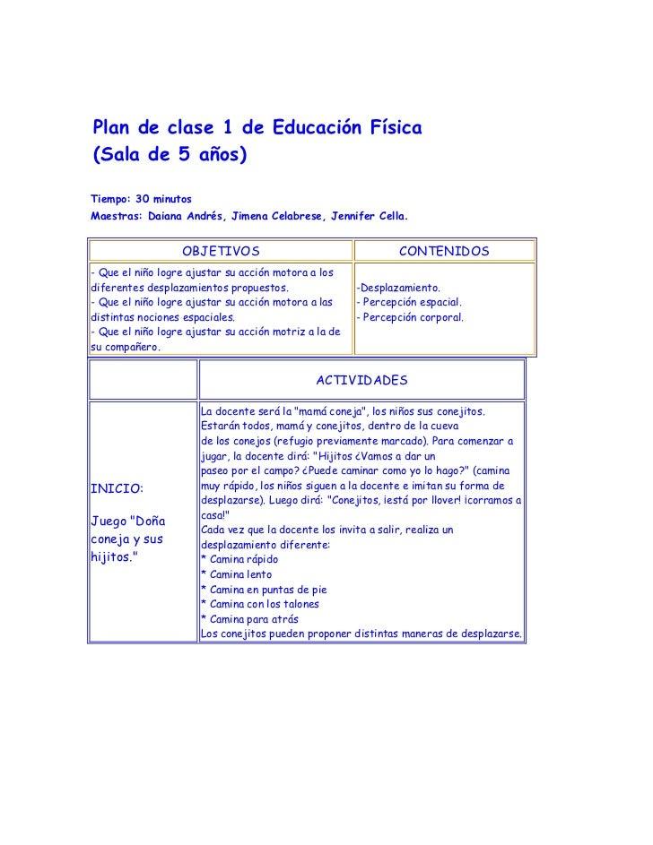Plan de clase 1 de Educación Física(Sala de 5 años)Tiempo: 30 minutosMaestras: Daiana Andrés, Jimena Celabrese, Jennifer C...