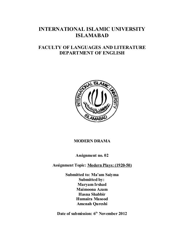 INTERNATIONAL ISLAMIC UNIVERSITY           ISLAMABADFACULTY OF LANGUAGES AND LITERATURE      DEPARTMENT OF ENGLISH        ...