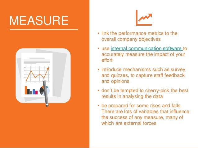 MEASURE • link the performance metrics to the overall company objectives • use internal communication software to accurate...