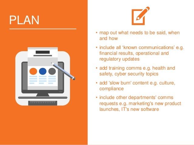 PLAN • map out what needs to be said, when and how • include all 'known communications' e.g. financial results, operationa...